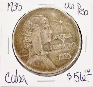 1935 Un Peso Patria Y Libertad Silver Coin photo