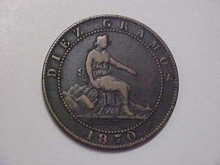 1870 Spanish - Puerto Rico 10 Centimos Coin photo