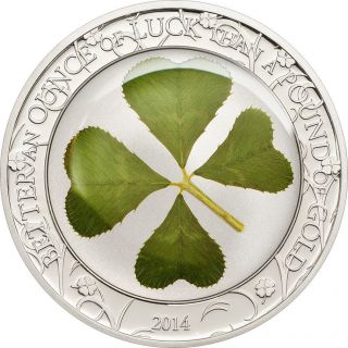 Ek // 5 Dollar Silver Coin 1 Oz Palau 2014 Ounce Of Luck 2014 photo