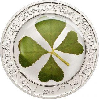 Ek // 5 Dollar Silver Coin 1 Oz Palau 2014 Ounce Of Luck 2014 photo
