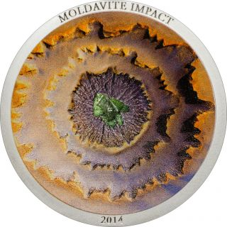 Ek // 5 Dollar Silver Coin 1 Oz Cook Island 2014 Moldavite Impact photo
