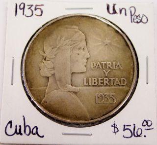 1935 Silver Un Peso Patria Y Libertad Coin photo