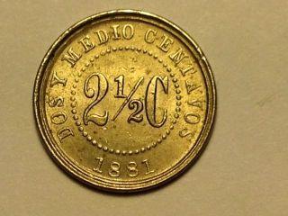 Columbian Coin - Dos Y Medio Centavos - 2 1/2 C 1881 photo