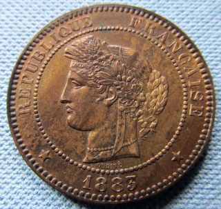 1883a France 10 Centimes Republique Francaise Nicely Detailed Old Bronze Coin photo