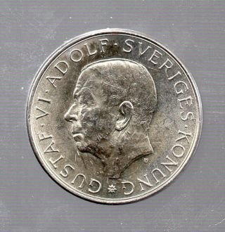 Sweden Swedish Commemorative Silver Coin 10 Kronor Kr 1972 Gustaf Vi Adolf photo