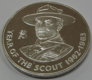 1983 Year Of The Scout Ascension Island Proof Silver Crown 38.  5mm Coin photo