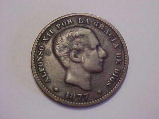 1877 Spanish - Puerto Rico 5 Centimos Coin photo