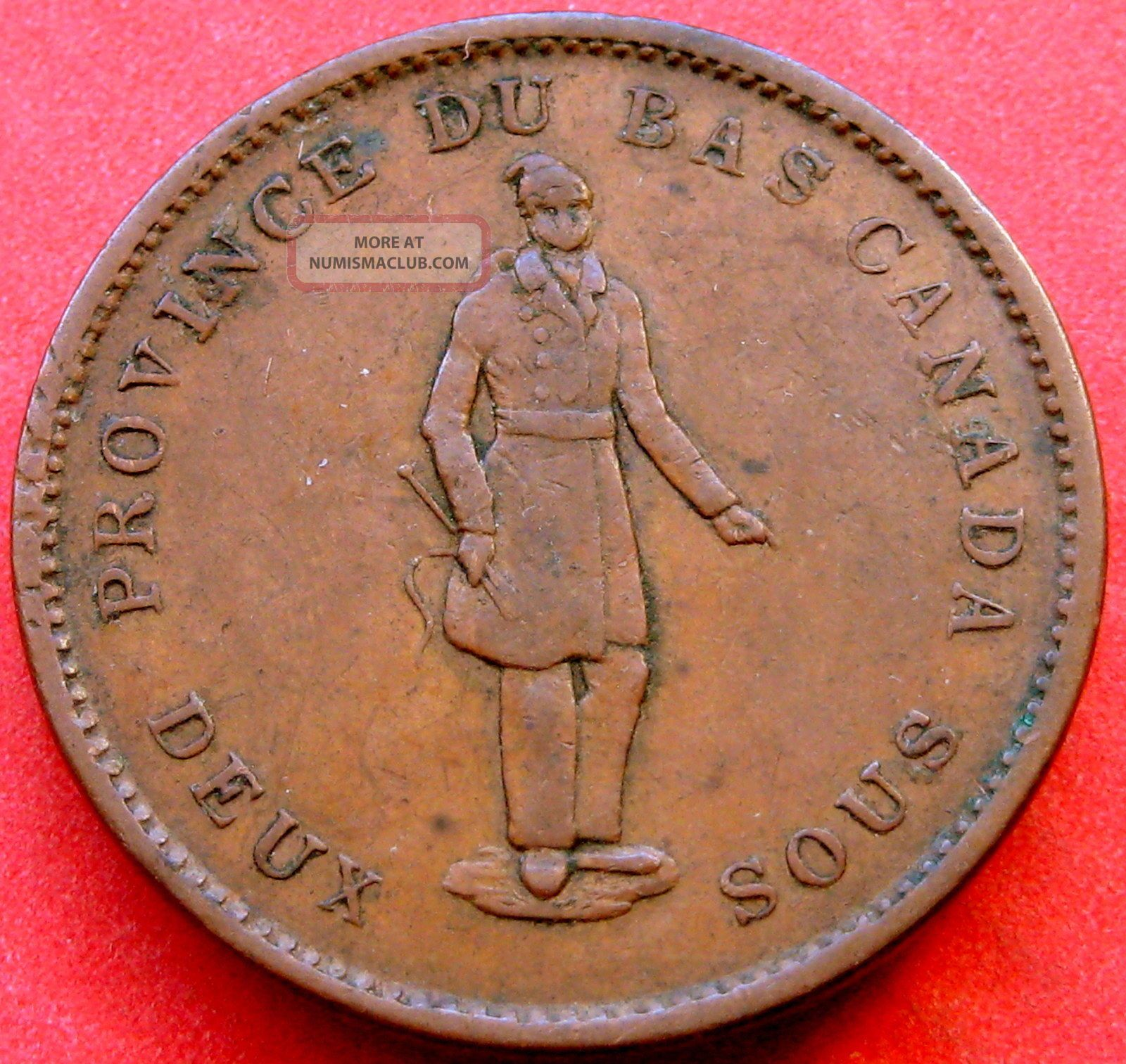1837 Lower Canada Quebec Copper One Penny Coin Deux Sous