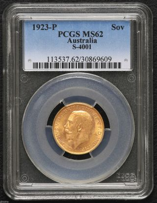 Australia 1923p Gold Sovereign Perth Pcgs Ms2 George V photo