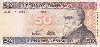 Lithuania Lietuvos Bankas 50 Litu 1993 Unc photo