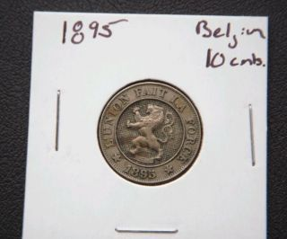 Belgium 1895 10 Cents Key Date Coin photo