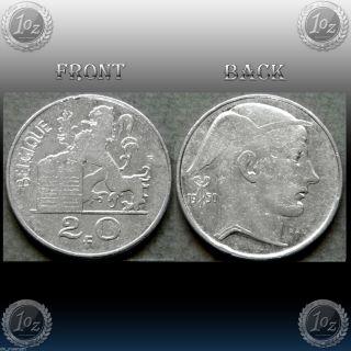Belgium (belgique) 20 Francs 1950 Silver Coin (km 140.  1) Vf photo