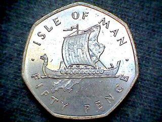 Isle Of Man 1976 50 Pence Viking Sailing Ship,  Cu - Ni,  Unc photo