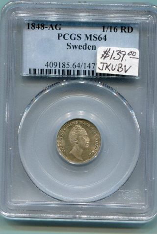 Sweden.  1/16 Rd.  1848 - Ag.  Pcgs Graded photo