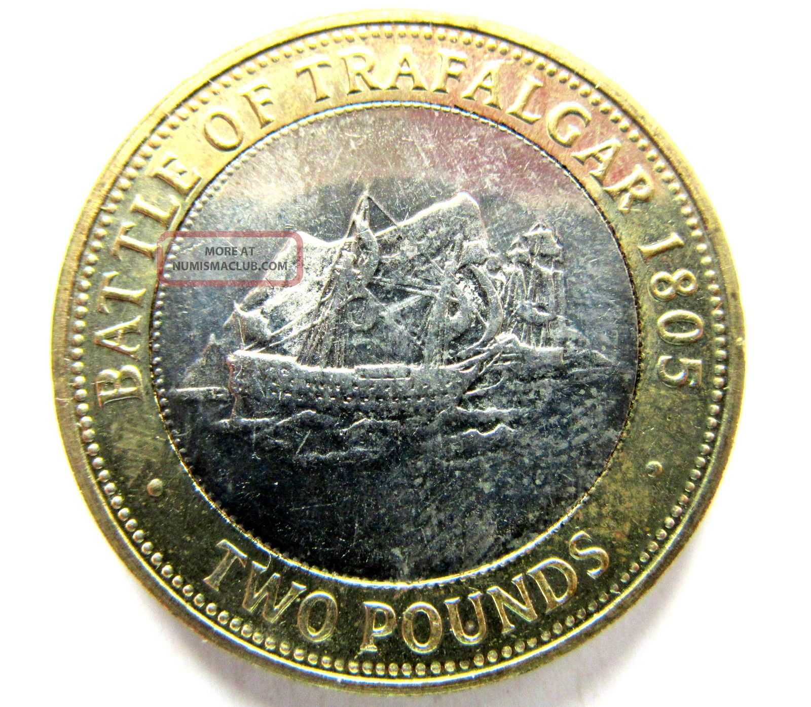 Gibraltar 2007 2 Pounds,  Battle Of Trafalgar Bicentenary 1805,  Sail Ship,  Unc Europe photo