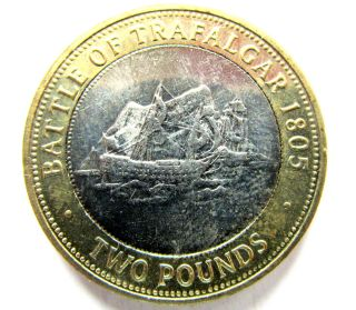 Gibraltar 2007 2 Pounds,  Battle Of Trafalgar Bicentenary 1805,  Sail Ship,  Unc photo