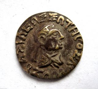 C.  90 - 70 B.  C Ancient Greece - Indo Greek Hermaios Ar Silver Drachma Coin photo