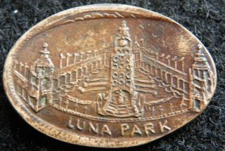 1904 Luna Park Elongated Penny Coney Island York photo