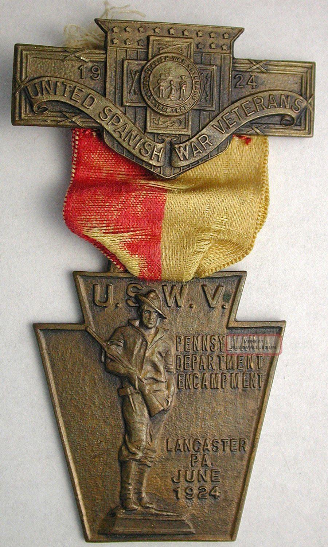 United Spanish War Veterans 1924 Encampment Badge With Ribbon