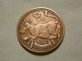 Rare 1933 - 1934 Chicago World ' S Fair Exposition Token - Cheerio The Cow photo