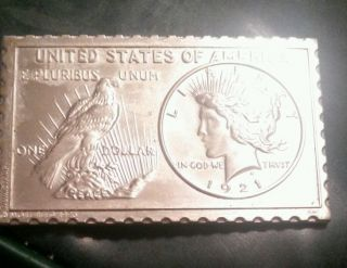 Numistamp One Dollar 1921 Standing Eagle Liberty Head Mort Reed photo