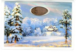 Christmas Laminated Postcard With Elongated Coin photo