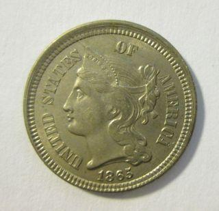 Civil War Era 3 Cent Nickel In Xf photo
