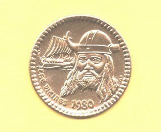 Viking And His Ship Token 1980 Norse Warrior Coin photo