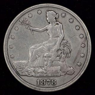1878 - S Trade Dollar Opium Dollar In Very Fine photo