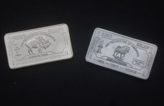 1 Troy Oz German Silver Bullion Buffalo Bar