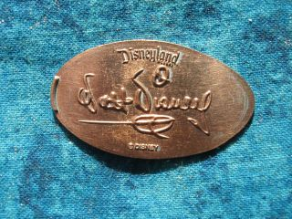 Walt Disney Sig.  Disneyland Main Street Copper Elongated Penny Pressed Smashed 2 photo