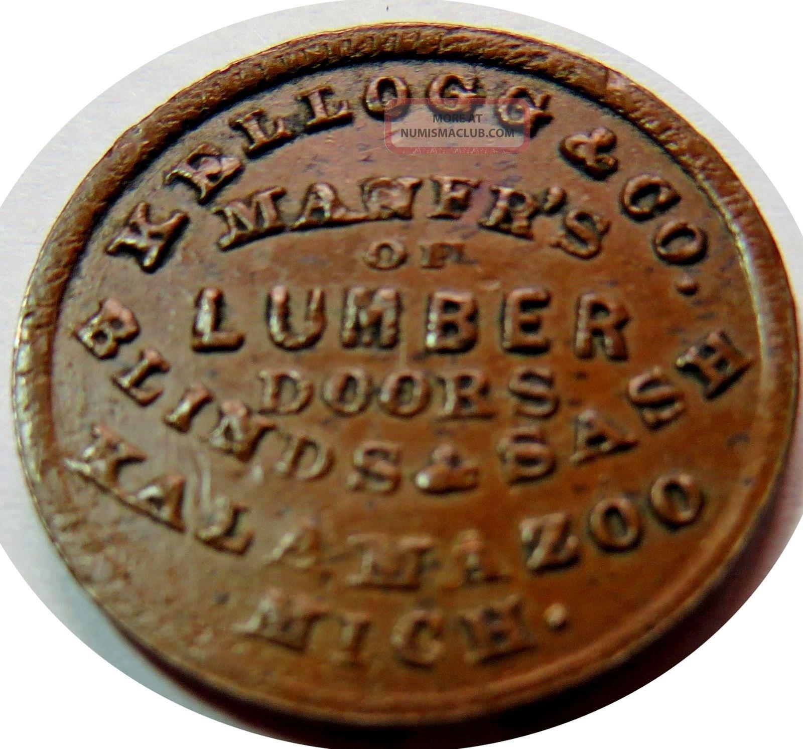Kalamazoo,  Mi530e - 1a (r - 5) Kellog & Co Lumber Doors Sashes Tough Scarce Merchant Exonumia photo