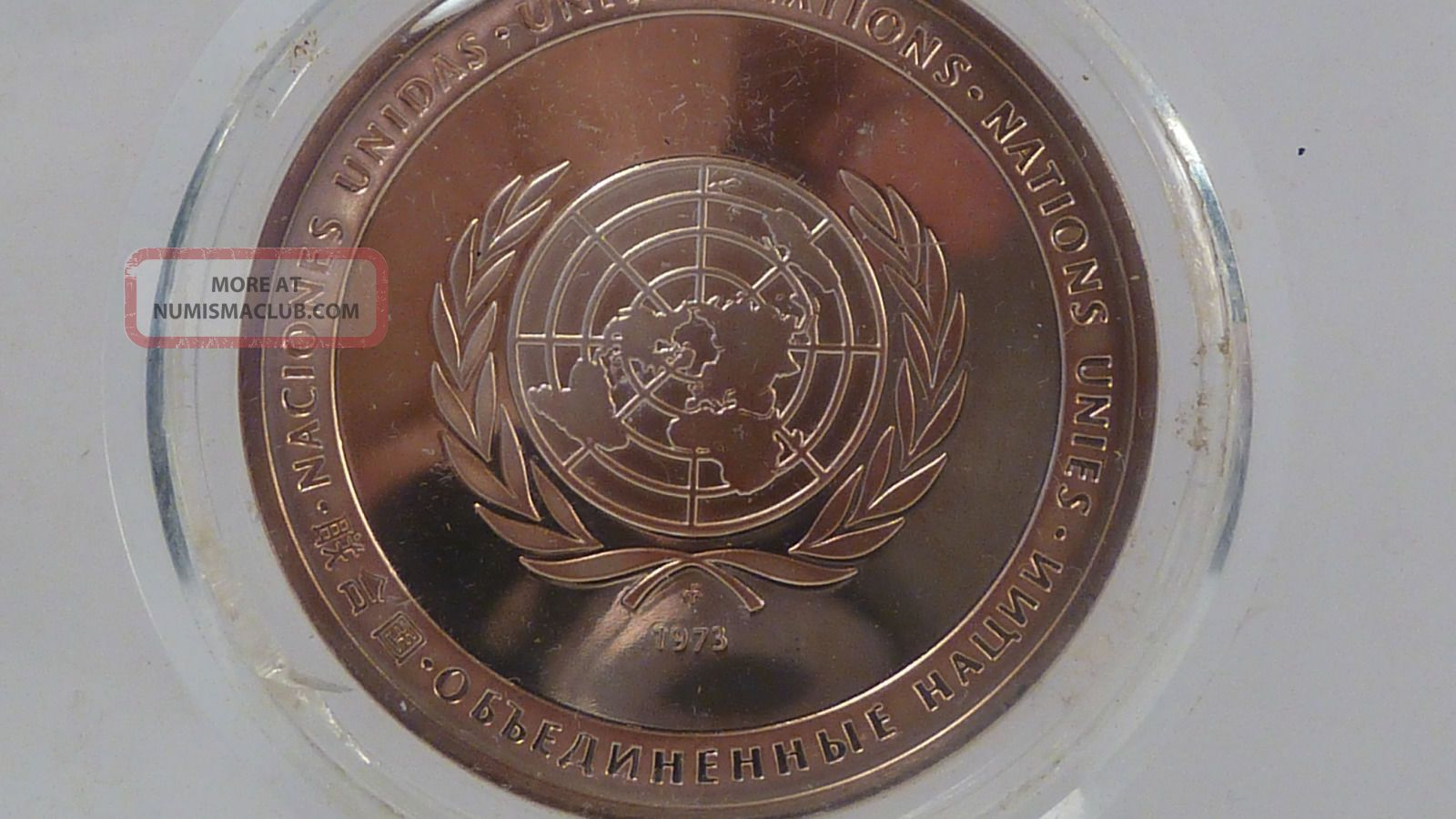 Rare 1973 Proof United Nations Peace Medal Token Sterling