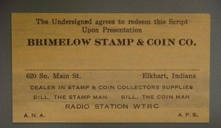 Brimelow Stamp & Coin Co.  Elkhart,  Indiana,  Worth One Nickel 1932 photo