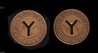 Us York City Nyc Transit Authority Subway Transit Y Cutout Token Big Size photo