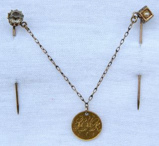 Antique Victorian Jewelry Stick Pin &1853 Us Gold Dollar Coin Love Token - Wow photo