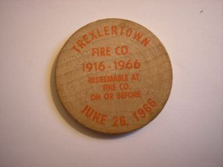 Wooden Nickel 1966 Trexlertown Pa.  Pennsylvania Fire Co. photo