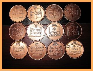 12 Copper Principles Steps Medallions Alcoholics Narcotics Anonymous photo