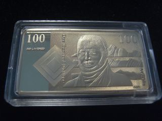 1 Troy Oz Au$100 (old Note) 24k Gold Layered Bar 0102 In A Limited Edition photo