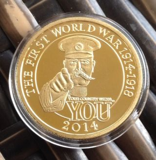 1st First World War 2014 Coin Finished In Fine Gold.  999 Two Pounds 1914  photo