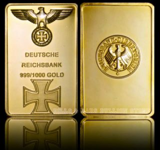 1 Oz Deutsche Reichbank Iron Cross Eacle Pure.  999 24k Gold Bullion Bar Rare photo
