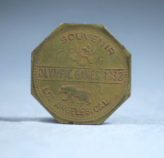 1932 Los Angeles Ca California Olympics Souvenir Octagonal Token Us Battle Fleet photo