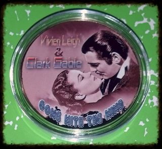 Gone With The Wind Clark Gable & Leigh - 1 Oz - Colorized Gold / Brass Art Round photo