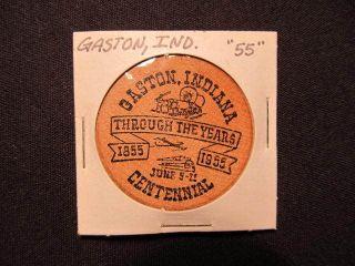 Vintage 1955 Gaston,  Indiana Wooden Nickel Token - Centennial Wooden Trade Coin photo