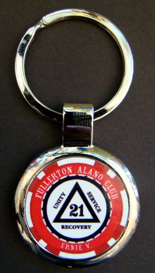 Custom Alcoholics Anonymous Sobriety Key Chain - Friends Of Bill W photo