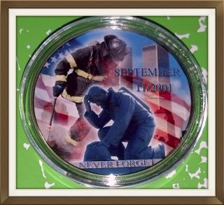 9/11 Firefighters Never Forget 268 - 1 Oz - Colorized Gold / Brass Art Round photo