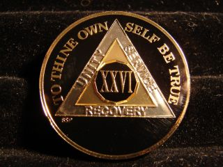 Alcoholics Anonymous Aa 26 Year Black Silver Gold Tri - Plate Medallion - Coin Chip photo