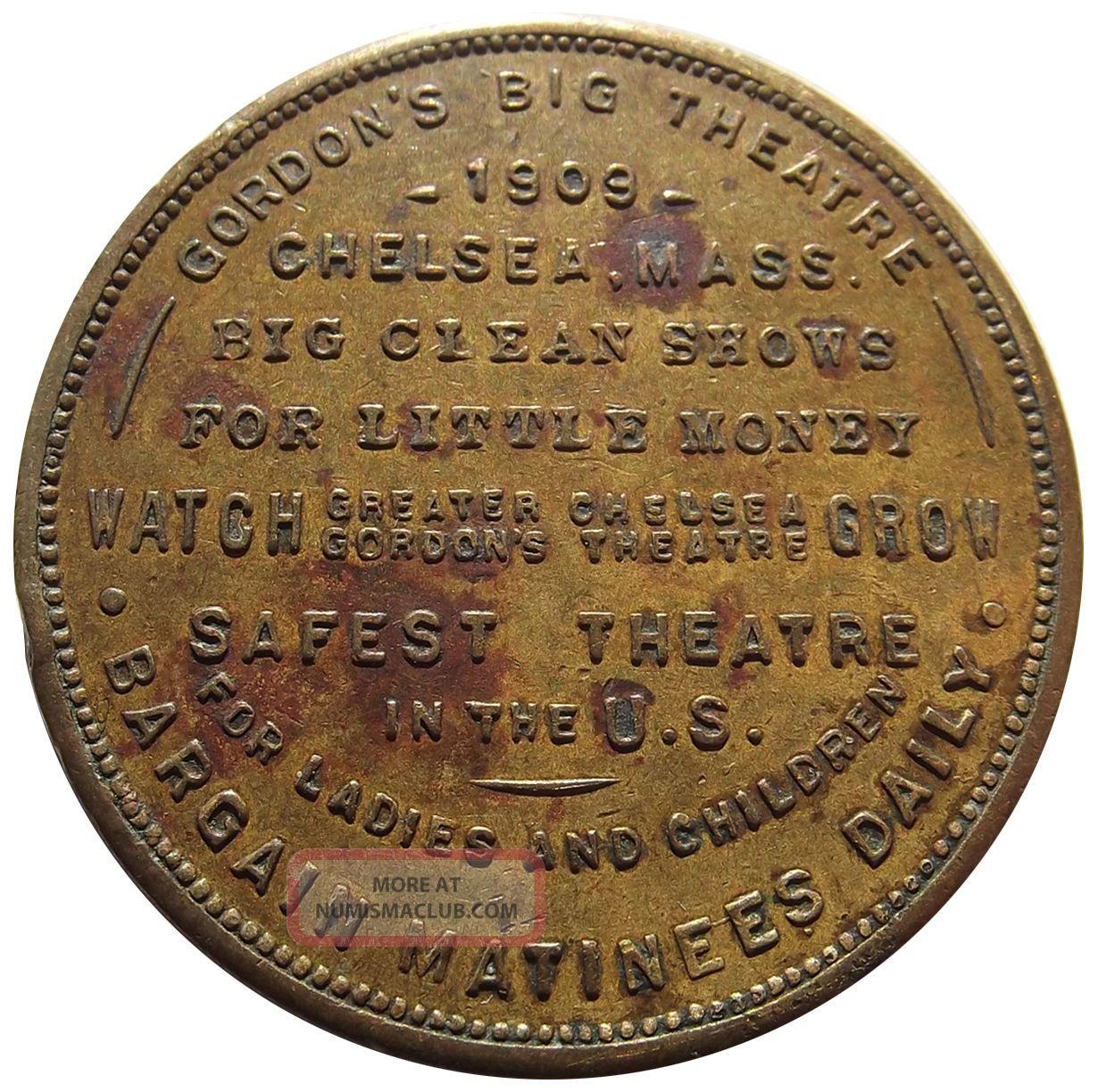 1909 Massachusetts Token - Gordon ' S Big Theatre,  Chelsea,  Ma,  Good Luck Swastika Exonumia photo