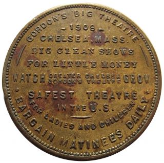 1909 Massachusetts Token - Gordon ' S Big Theatre,  Chelsea,  Ma,  Good Luck Swastika photo