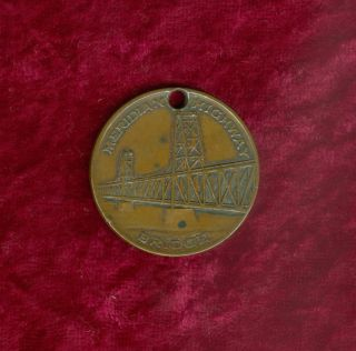 1924 Meridian Highway Bridge Opening Token - Yanktown,  S.  D.  - Copper photo